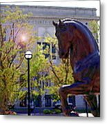 Allentown Pa Old Lehigh County Courthouse And Davinci I Horse  Metal Print