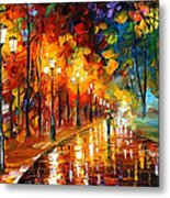 Alley Of The Memories - Palette Knife Oil Painting On Canvas By Leonid Afremov Metal Print