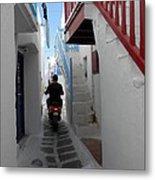 Alley Way In Mykonos Metal Print