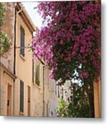Alley With Bougainvillea - Provence Metal Print