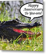 Alligator Anniversary Card Metal Print