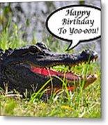 Alligator Birthday Card Metal Print
