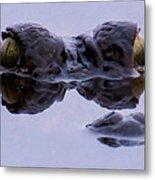 Alligator Eyes On The Foggy Lake Metal Print