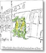 Alligators Riding The Subway Metal Print