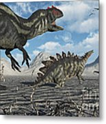 Allosaurus Dinosaurs Moving In To Kill Metal Print