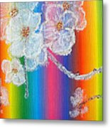 Almond Flowers On Spectrum Metal Print
