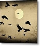 Almost Full Moon And Crows Metal Print