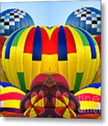 Almost Inflated Hot Air Balloons Mirror Image Metal Print