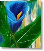 Alone In Blue- Calla Lily Paintings Metal Print