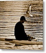 Alone In His Thoughts But Not Alone Metal Print by Carol F Austin