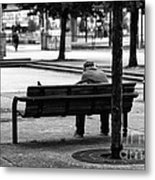 Alone In The Park Mono Metal Print