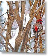 Alone In The Snow Storm Metal Print