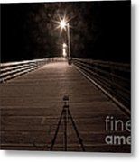 Alone On The Pier Metal Print by Ron Hoggard