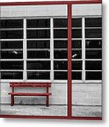 Alone - Red Bench - Windows Metal Print