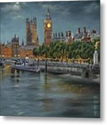 Along The Thames At Night Metal Print
