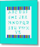 Alphabet Blue Metal Print