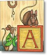 Alphabet Mice Metal Print