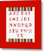 Alphabet Red Metal Print