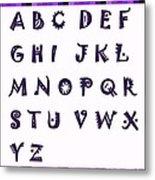 Alphabet With Purple Stripes Metal Print