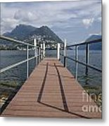 Alpine Lake With A Pier Metal Print