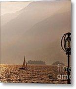 Alpine Lake With A Sailing Boat Metal Print