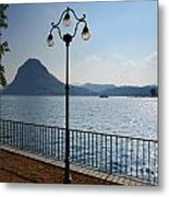 Alpine Lake With Street Lamp Metal Print