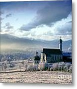 Alpine Scenery With Church In The Frosty Morning Metal Print