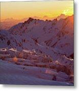 Alpine Sunset On High Alpine Glacier Metal Print