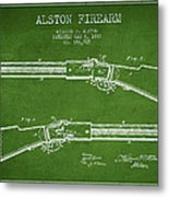 Alston Firearm Patent Drawing From 1887- Green Metal Print