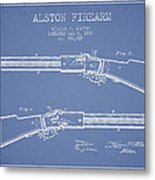 Alston Firearm Patent Drawing From 1887- Light Blue Metal Print