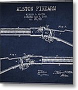 Alston Firearm Patent Drawing From 1887- Navy Blue Metal Print