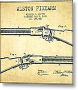 Alston Firearm Patent Drawing From 1887- Vintage Metal Print
