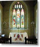 Altar And Stained Glass Window Nether Wallop Metal Print