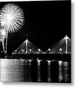 Alton Fireworks Black And White Metal Print