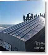 Aluminum Fishing Boat And Boots Drying On Fence Metal Print