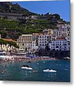 Amalfi Beach And Town Metal Print