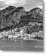 Amalfi Coast Monochrome Metal Print
