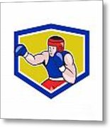 Amateur Boxer Boxing Shield Cartoon Metal Print by Aloysius Patrimonio
