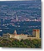 Amazing Medvedgrad Castle And Croatian Capital Zagreb Metal Print