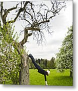 Amazing Stretching Exercise - Bmx Flatland Rider Monika Hinz Uses A Tree Metal Print