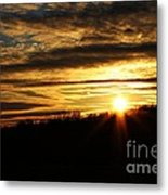 Amber Sky Over The Hills Metal Print