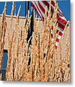Amber Waves Of Grain And Flag Metal Print