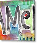 Amen- Colorful Word Art Painting Metal Print by Linda Woods
