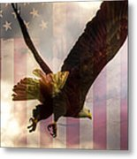 American Bald Eagle In Flight Wtih Flag Metal Print by Natasha Bishop