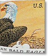 American Bald Eagle Vintage Postage Stamp Print Metal Print
