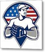 American Baseball Pitcher Gloves Retro Metal Print