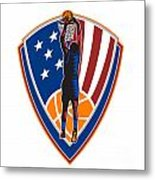 American Basketball Player Dunk Ball Shield Retro Metal Print by Aloysius Patrimonio