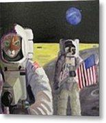 American Cat Astronauts Metal Print