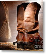 American Cowboy Boots Metal Print