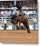 American Cowboy Riding Bucking Rodeo Bronc I Metal Print